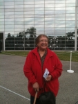 Mom in front of Crystal Cathedral