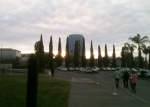 Sunrises over Crystal Cathedral parking lot